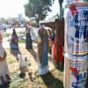 Festivus pole made of PBR beer cans in Florida State Capitol